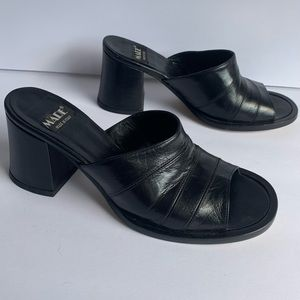 Mare black leather sandals shoes heels size 6.5